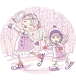 two girls skate vector image