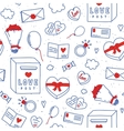 Valentines Day hand drawn doodle seamless vector image