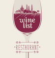 wine list with landscape of vineyards and village vector image vector image