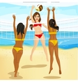 women play volleyball at the beach vector image