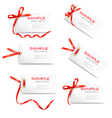 set of labels with bow and ribbons vector image