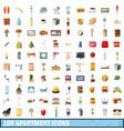 100 apartment icons set cartoon style