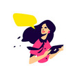 a fashionable girl with a tablet flat pr vector image vector image