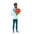 african groom holding a bouquet of flowers vector image vector image
