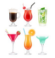 alcoholic cocktails glasses with drinks tropical vector image vector image