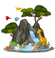 background scene wildlife animals and waterfall vector image vector image