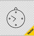 Black line clock icon isolated on transparent