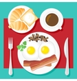 Breakfast Poster Fried eggs bacon mushrooms vector image vector image