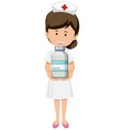 cartoon character a nurse holding a covid-19 vector image vector image