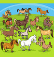 cartoon horses farm animals group vector image vector image