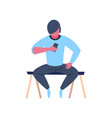 caucasian character sitting pose using vector image vector image