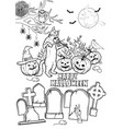 coloring book halloween characters vector image