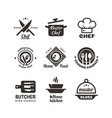 cooking master classes labels restaurant or cafe vector image vector image