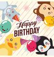 cute animal happy birthday vector image vector image