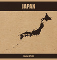 detailed map of japan on craft paper vector image