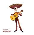 dia de muertos mariachi musician skeleton guitar vector image vector image