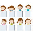 Different girl characters holding blank signs vector image vector image