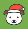 dog face with santa hat filled style icon vector image vector image