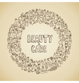 doodle cosmetics and self-care icons vector image vector image