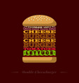 double cheeseburger letters recipe typography vector image vector image