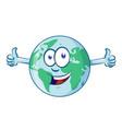 earth cartoon character day mascot thumbs up vector image