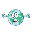 earth cartoon character earth day mascot thumbs up vector image vector image