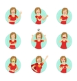 Emotion Body Language Set With Woman vector image vector image