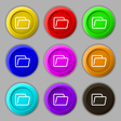 Folder icon sign symbol on nine round colourful vector image vector image