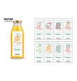 fresh juice realistic glass bottle with labels set vector image