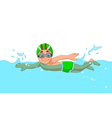 funny cartoon boy swimmer in the swimming pool vector image