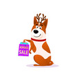 funny cartoon dog portrait with xmas sale bags vector image vector image