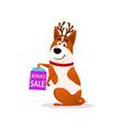 funny cartoon dog portrait with xmas sale bags vector image vector image