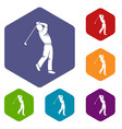 golf player icons set hexagon vector image