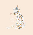 hand drawn greeting leopard in party hat on head vector image