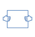 hands holding paper line icon concept hands vector image