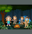 happy kids camping in the forest at night near big vector image