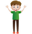 happy man waving both hands vector image