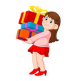 happy young woman holding pile of gifts vector image