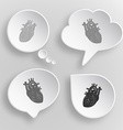 Heart White flat buttons on gray background vector image