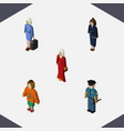 isometric person set of businesswoman female vector image vector image