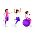 isometry set of beautiful female athletes vector image