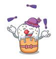juggling easter cake mascot cartoon vector image