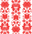 Kalocsai emrboidery red seamless patternn - floral vector image