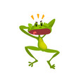 little surprised frog green funny amfibian animal vector image