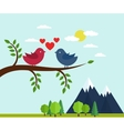 Lovers and happy birds on tree with hearts vector image vector image