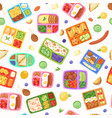 lunch boxes with food seamless pattern vector image vector image