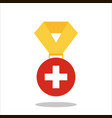 medal with the switzerland flag isolated on white vector image