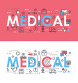 medical word thin line set vector image