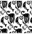 pattern with hand drawn female profile with vector image