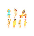 people bathing in sauna or bathhouse set people vector image